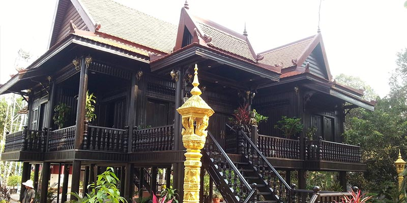 Traditional wooden Khmer houses